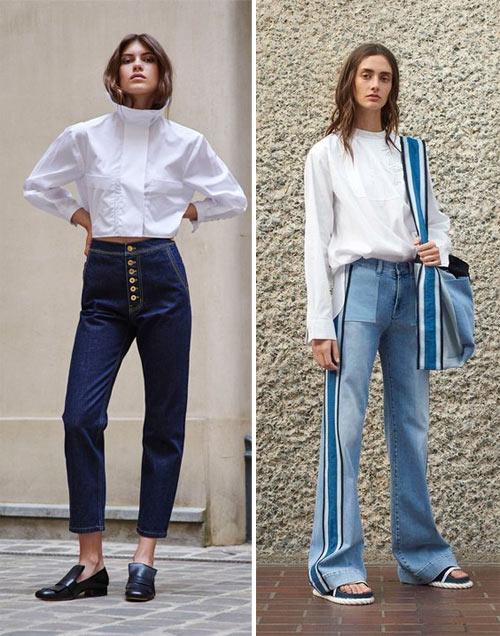 Джинсы и белая блузка для для модных образов 2018