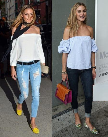 Оливия Палермо в джинсах и блузках с открытыми плечами