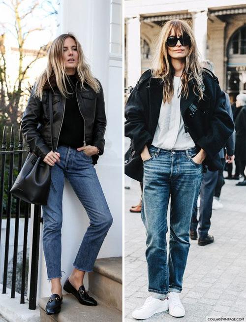 Синие джинсы и черная куртка-бомбер