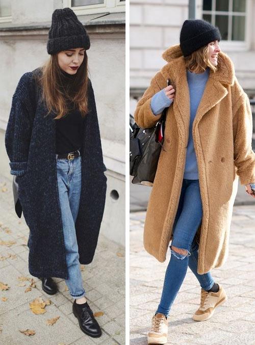 Джинсы в стиле 90-х и пальто оверсайз