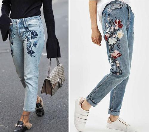 Вышивка в виде цветов на джинсах