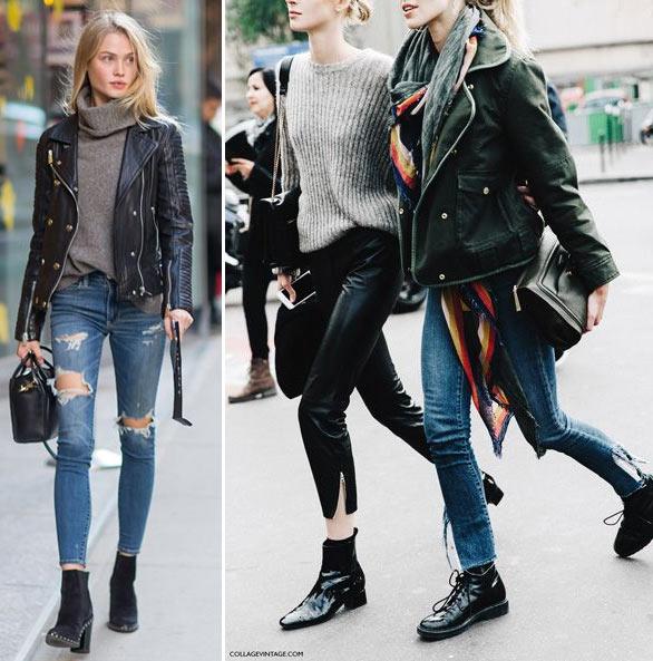 Модели в промежутках между показами. Черная кожаная куртка-косуха