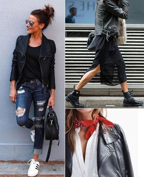 С чем носить кожаную куртку: модели в свободное время