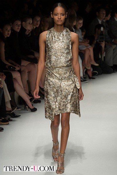 Модное платье золотистого цвета весна-лето 2014