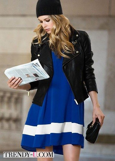 Кожаная куртка и короткое платье