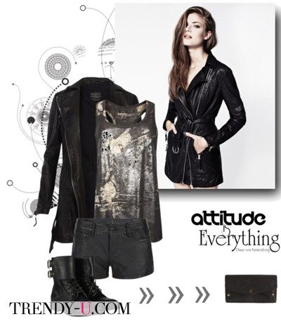 Удлиненная кожаная куртка и блузка из блестящей ткани