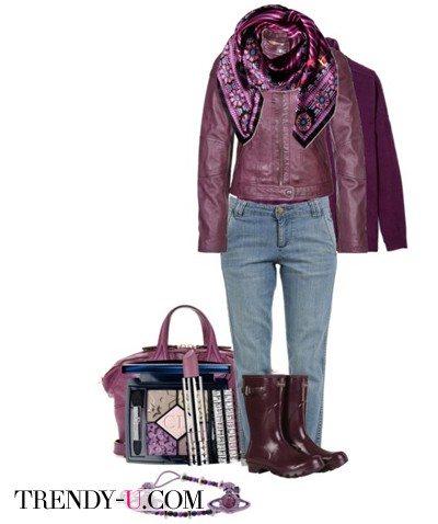 Фиолетовая кожаная куртка