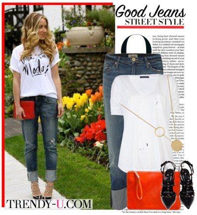 Джинсы и белая футболка