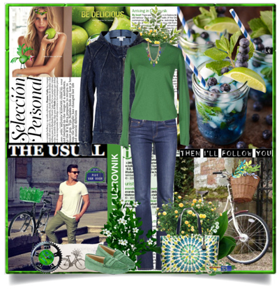 Синие джинсы - зеленый свитер