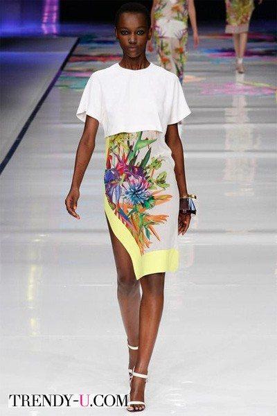 Укороченный топ и юбка с принтом 2014 Just Cavalli