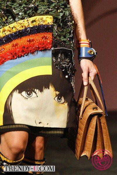 Аксессуары Прада 2014: модная сумка и кожаный браслет