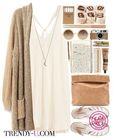 Бежевый кардиган и молочного цвета платье