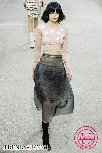 Укороченный топ и юбка Chanel SS 2014