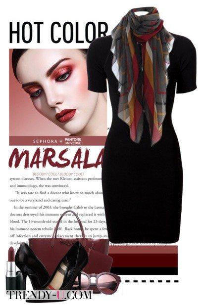Аксессуары цвета марсала и черное платье-футляр