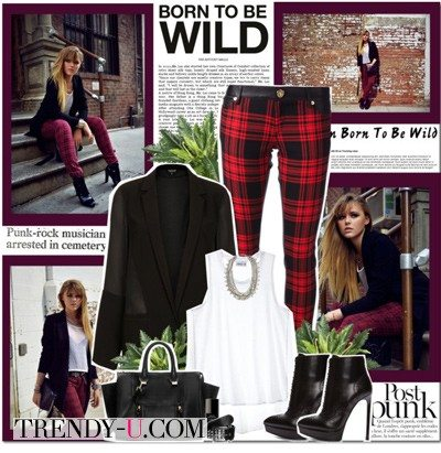 Черный пиджак и клетчатые брюки