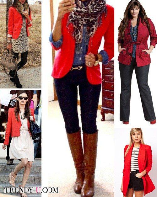 Красный пиджак и луки в стиле стрит-стайл