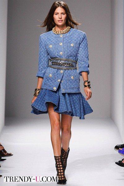Джинсовая пышная юбка 2014 от Balmain