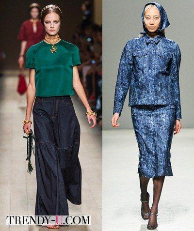 Джинсовая юбка и костюм 2014