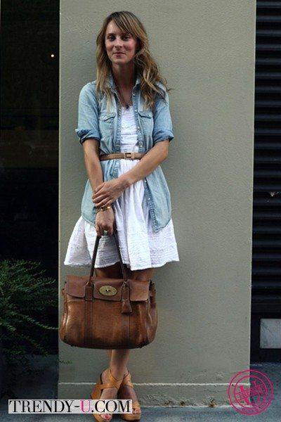 Джинсовая рубашка и платье