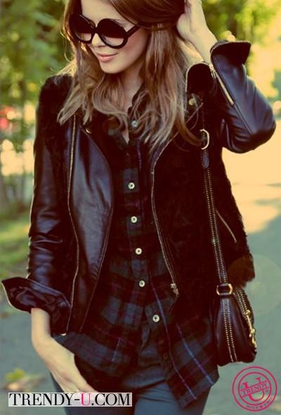 Клетчатая рубашка и куртка-косуха