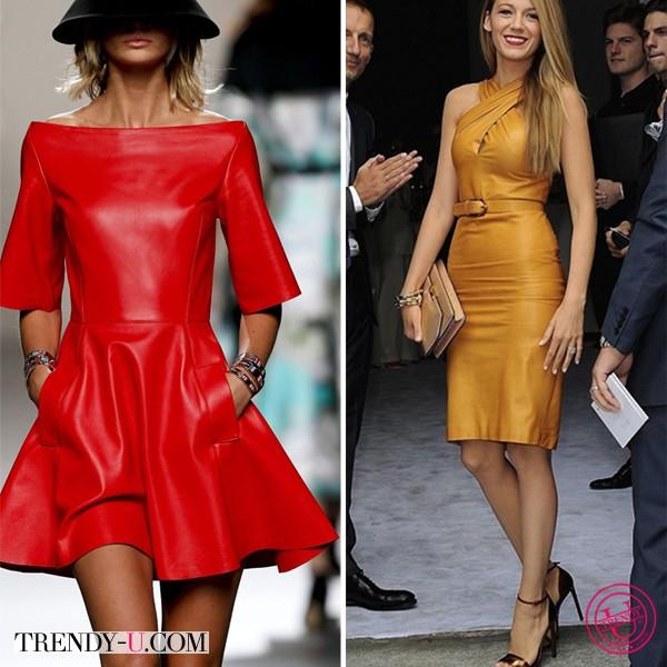 Модные кожаные платья Juanjo Oliva и Gucci 2014