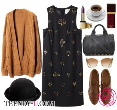 Коричневый кардиган с платьем из шелка