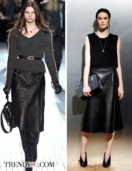 Модные кожаные юбки от Theysken's Theory и Sportmax