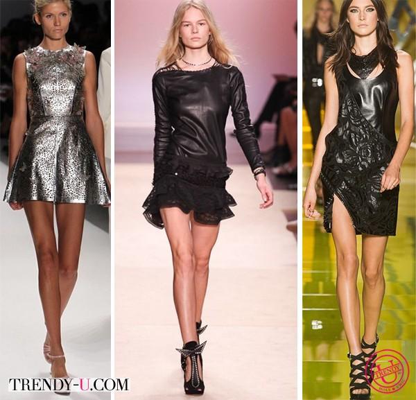 Кожаные короткие платья лето 2014