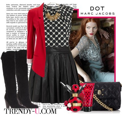 Красный пиджак и черная юбка