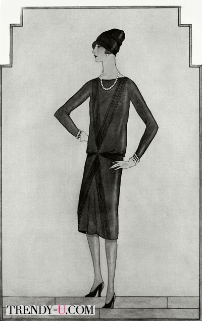 Эскиз маленького черного платье на страницах Вог в 1926 году