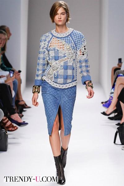 Джинсовая юбка 2014 Balmain