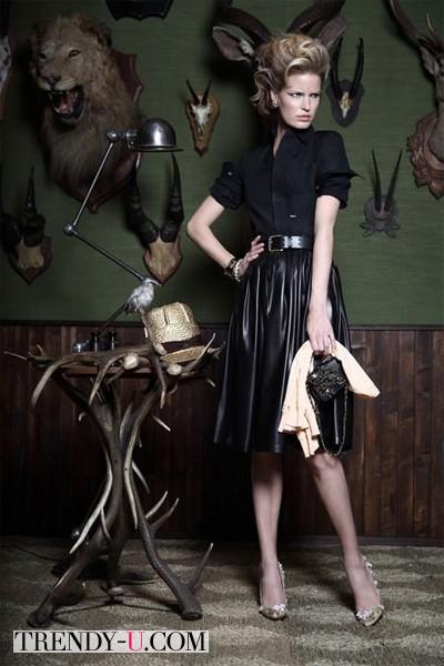 Черная кожаная юбка от Dsquared 2014