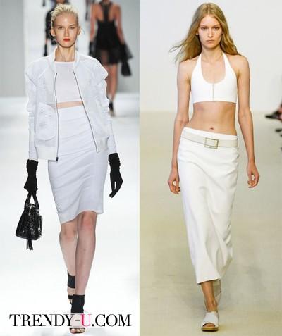 Белая летняя юбка-карандаш 2014 от Milly и Calvin Klein