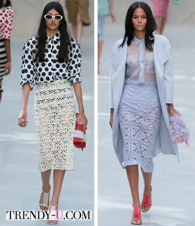 Кружевные юбки от Burberry 2014