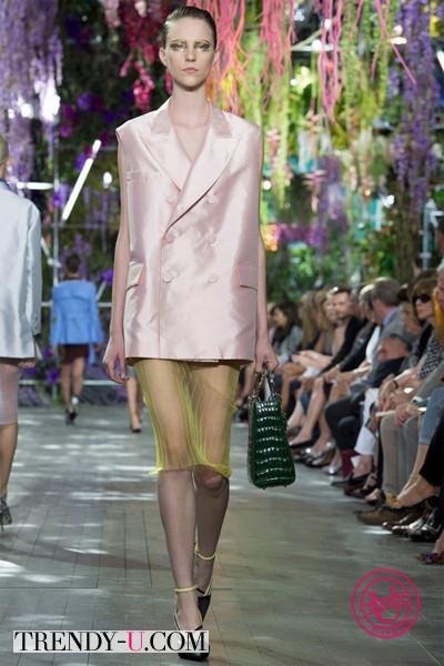 Oversized жилет и прозрачная юбка Диор 2014