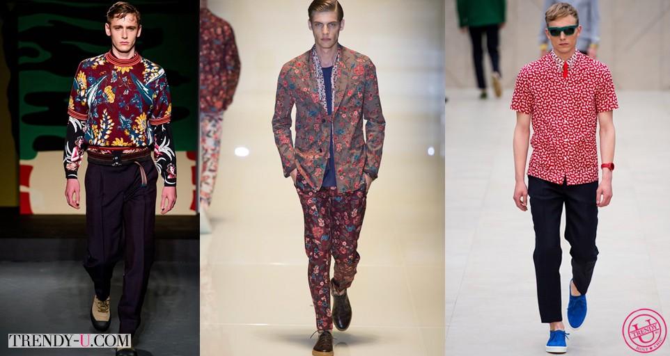 Мужская модная одежда с цветочным принтом весна-лето 2014