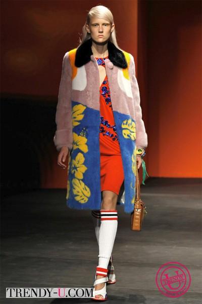 Меховое пальто Прада 2014