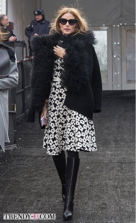 Оливия Палермо в черном кардигане плотной вязки