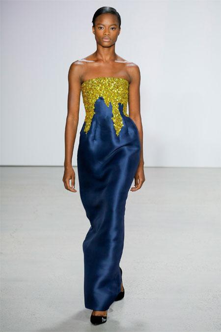 Двухцветное вечернее платье из коллекции Oscar de la Renta весна-лето 2018