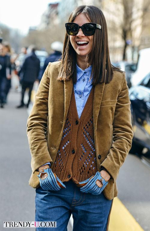 Уличный стиль, весна 2015: пиджак, жилет, деним и перчатки