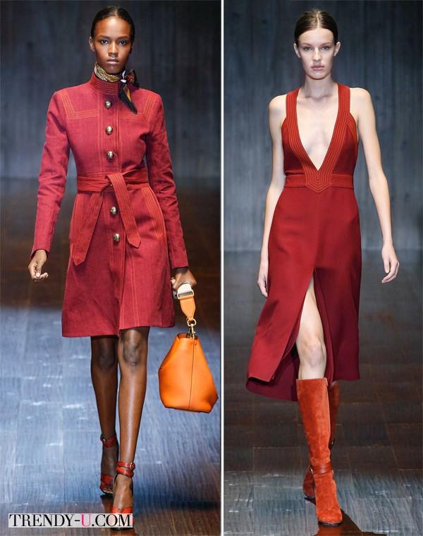 Тренч и сарафан цвета марсала из коллекции Gucci SS 2015