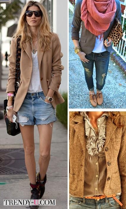 Бежевый пиджак и деним
