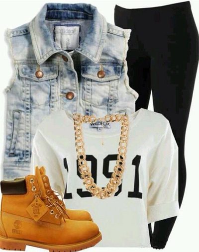 Ботинки тимберленды, джинсы и жилет