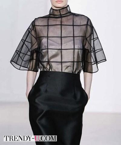 Черная юбка-карандаш и шифоновая блузка Barbara Casasola