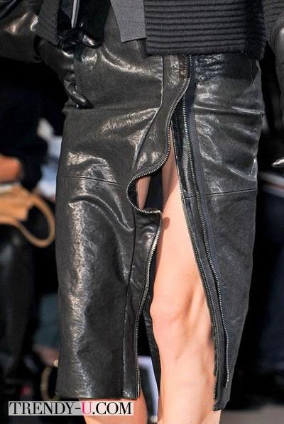 Черная кожаная юбка-карандаш от Haider Ackermann