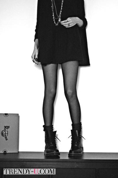 Черные тимберленды с платьем