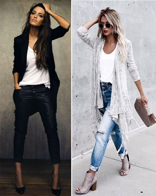 Кардиган, джинсы, футболка
