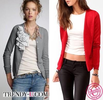 Короткие кардиганы в сочетании с одеждой в стиле casual