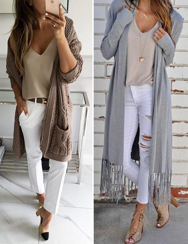 Длинный кардиган и джинсы