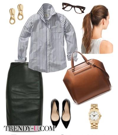 Черная кожаная юбка в сочетании с рубашкой